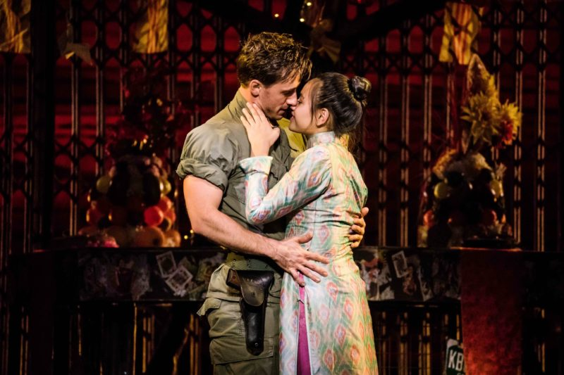 "Emily Bautista as 'Kim' and Anthony Festa as 'Chris' in the North American Tour of MISS SAIGON singing ""Last Night of the World"""