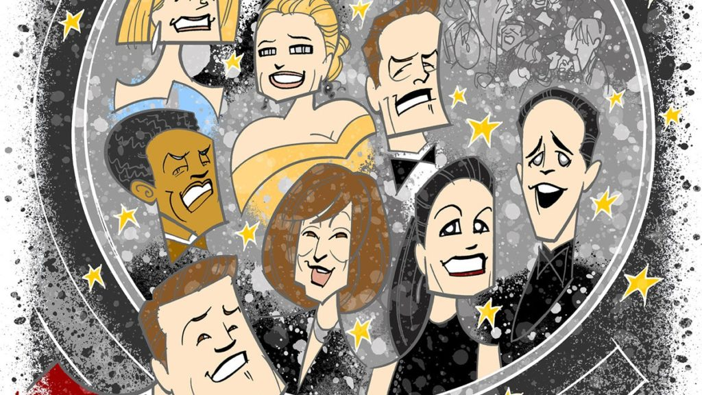 """Broadway Ink - 73rd Annual Tony Awards - 06/2019 - Illustration by Justin """"Squigs"""" Robertson for Broadway.com"""
